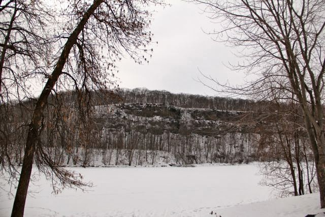 ice and snow covered St. Croix river