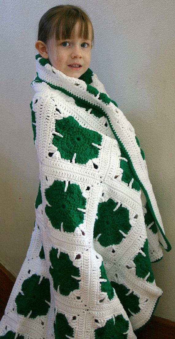 yonca+yaprakl%C4%B1+battaniye+(2) Yonca Modelleri Battaniye Örneği