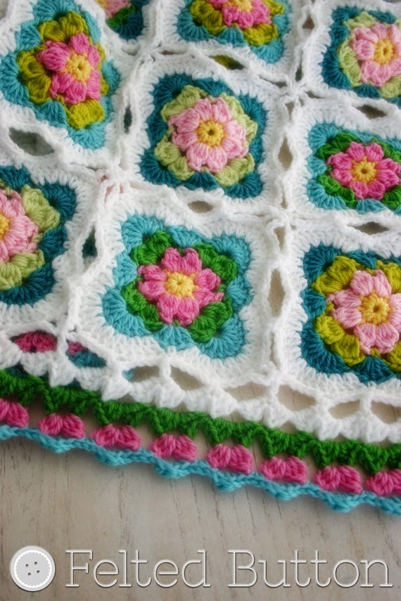 Cottage Garden Blanket Crochet Pattern by Susan Carlson of Felted Button