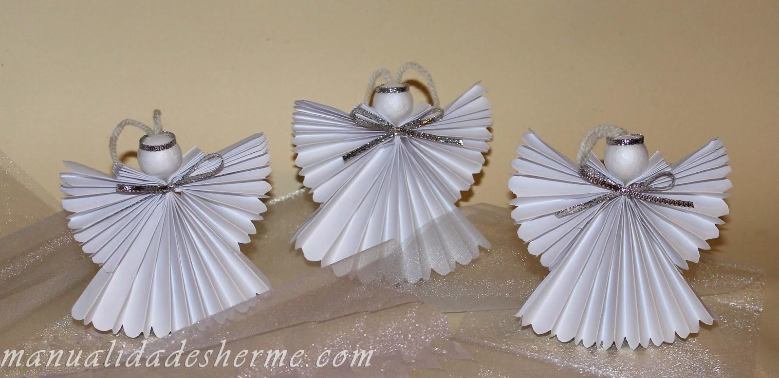 Manualidades herme como hacer un ngel de papel - Como hacer guirnaldas de navidad ...