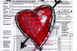 red heart drawn on a tax form