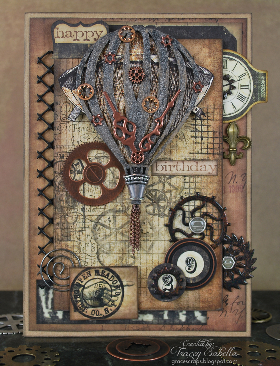 Leaky Shed Studio Grungy Steampunk Card By Tracey Sabella