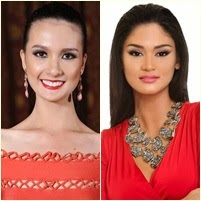Battle of the 1st runners up: Pia Wurtzbach (Bb. Pilipinas 2013) and Kimverlyn Suiza (Miss Philippines-Earth 2013)