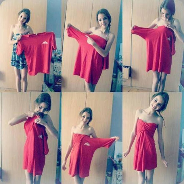 Make instant dress from oversized t-shirt