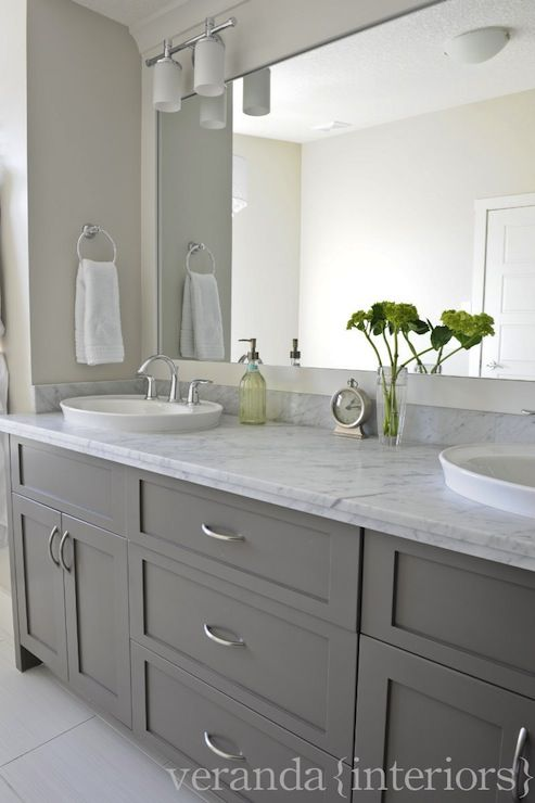 Decorating cents gray bathroom cabinets for Gray bathroom wallpaper