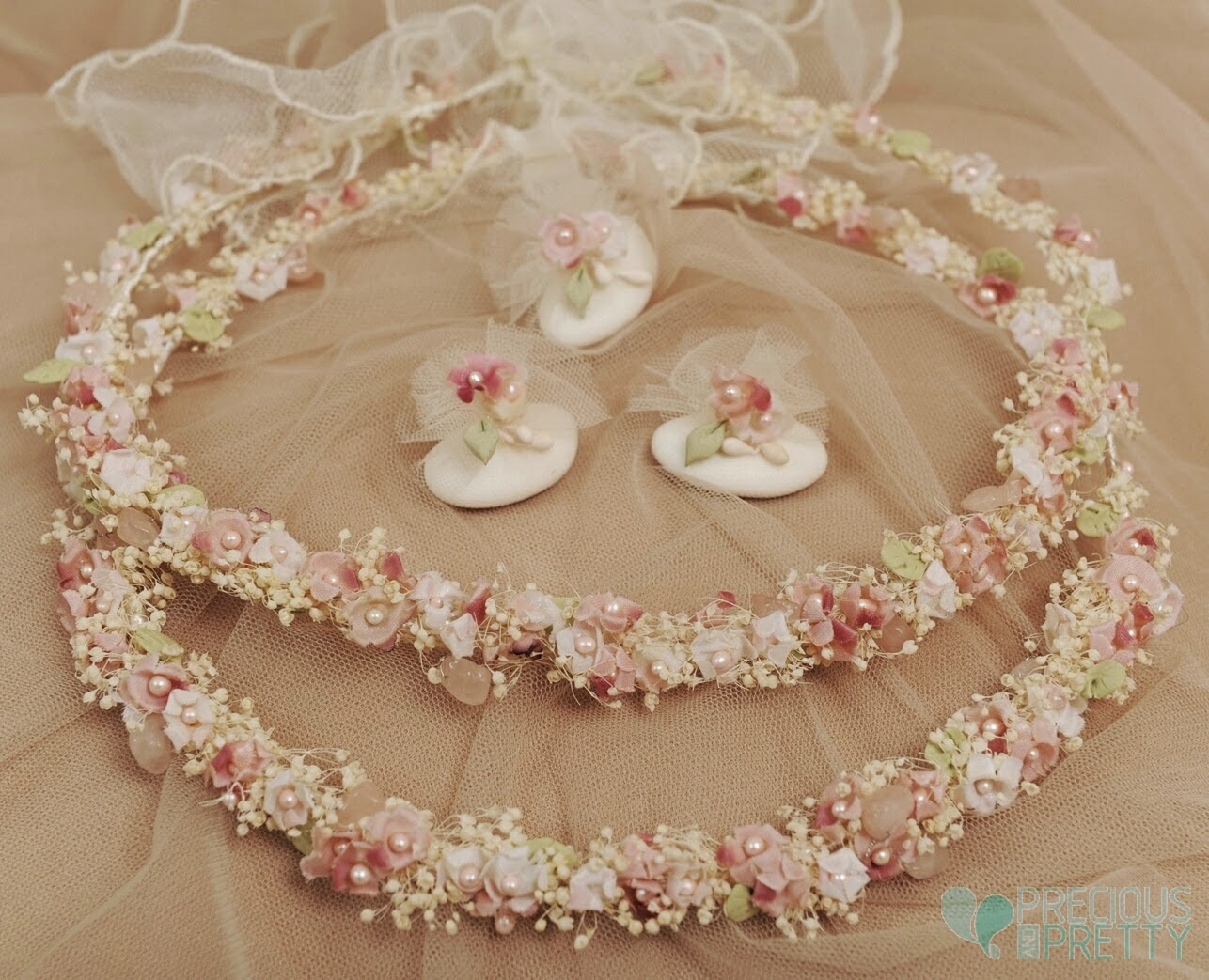 Stefana crowns for weddings baby's breath pink flowers