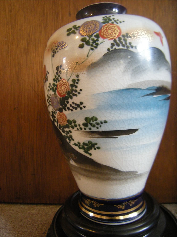 Meiji Period Cobalt Blue Satsuma Painted Geisha Vase Marked Shozan 尚山
