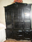 FRENCH GARDEN TREASURES BLACK CHINA HUTCH VERY ELEGANT