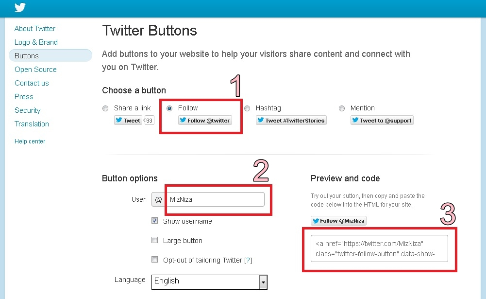 how to add twitter follow button to blogger