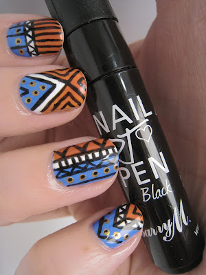 Orange-blue-white-black-gold-tribal-nail-art-Barry-M-Models-Own