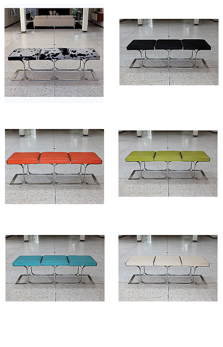 cowhide leather on stainless steel bench