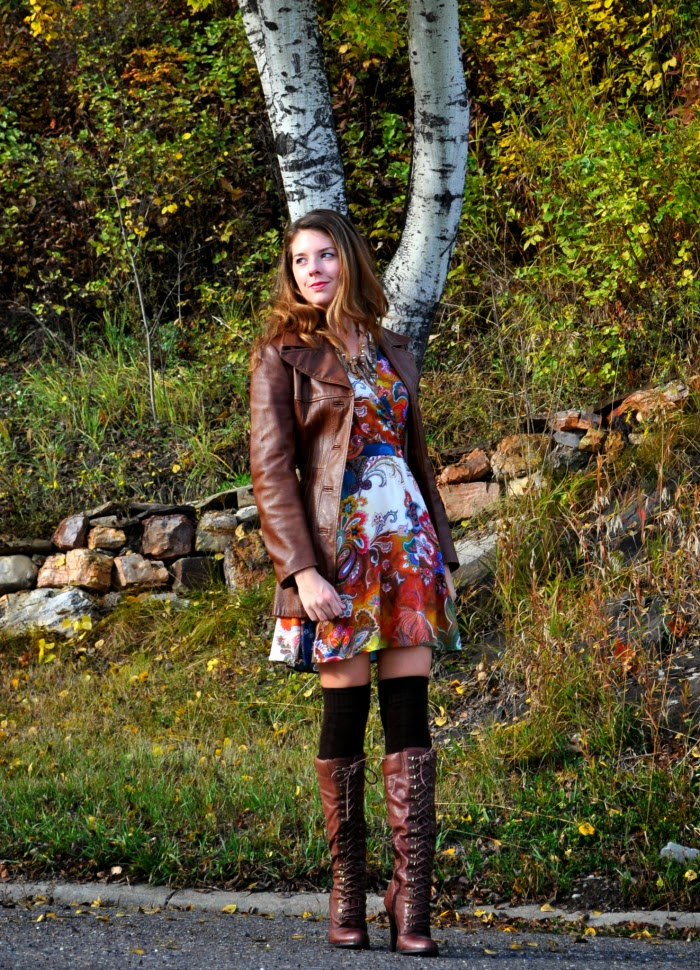 Fall Outfit, Brown Leather Jacket, Printed Dress, Boots