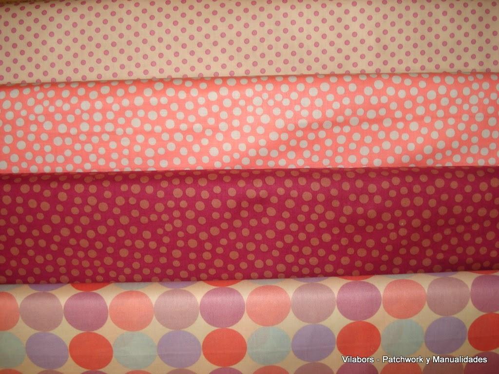 Primavera 2014, Telas Patchwork. Topos de diferentes tamaños coordinados en tonos suaves y alegres. Vilabors, Vilafranca del Penedès
