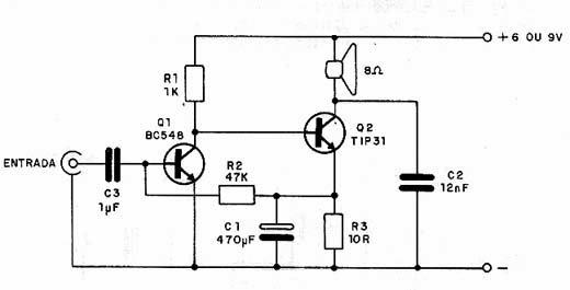 Circuito Amplificador : Circuitos amplificadores circuito amplificador simple