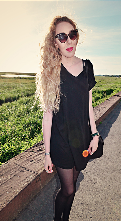 black dress, fashion blog, fashion blogger, uk style blog, north west, jelly shoes, curly hair, cat eye sunglasses, black leather bag, asks watch, neston, nicholls ice cream, park gate, uk fashion blogger, pastel, pastel hair
