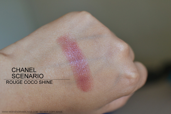 Rouge Coco Shine Lipstick Scenario 83 Avant Premiere de Chanel Makeup Collection Summer 2013 Photos Swatch FOTD Look Review Indian Darker Skin Beauty Blog