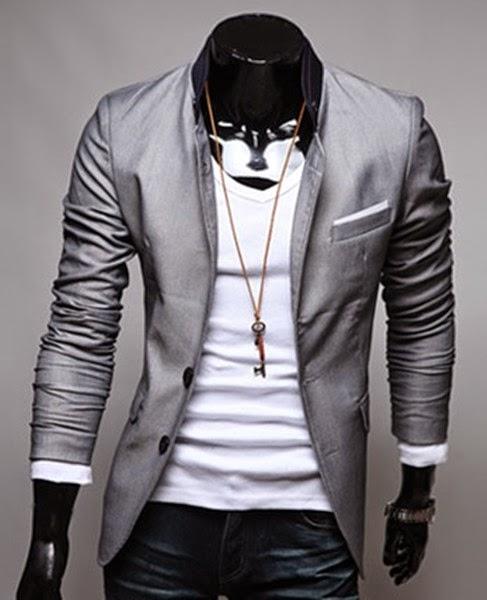 Blazer Casual Slim Fit Estilo Fashion - Dos Botones - Detalles en el Cuello - Gris (MH898)