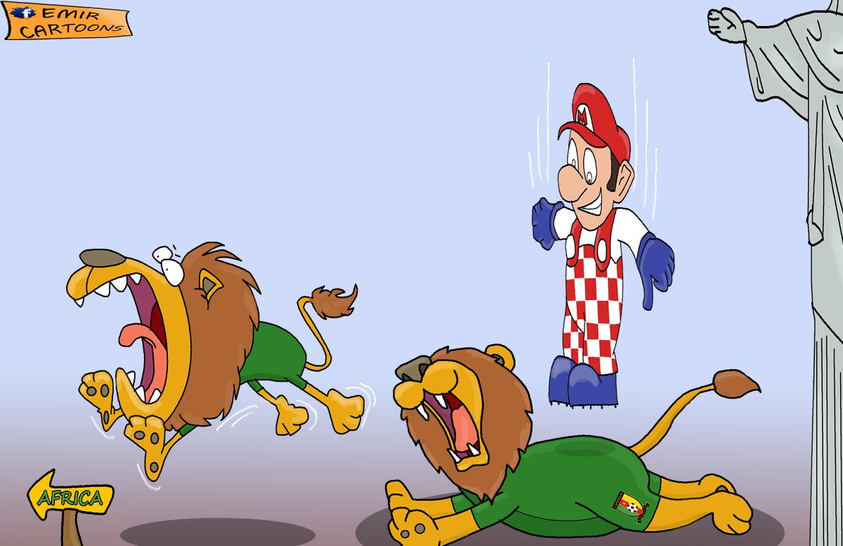 Hrvatska Kamerun,Hrvatska Mario Mandzukic,Mario Mandzukic, fudbal karikature, karikatura dana, omar momani cartoons,emir cartoons,