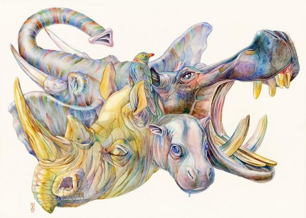 Ilustración de  rinoceronte hipopótamo y elefante