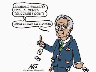 Monti, conti pubblici, pensioni, satira, vignetta