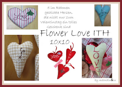 Flower Love Hearts ITH - 10x10