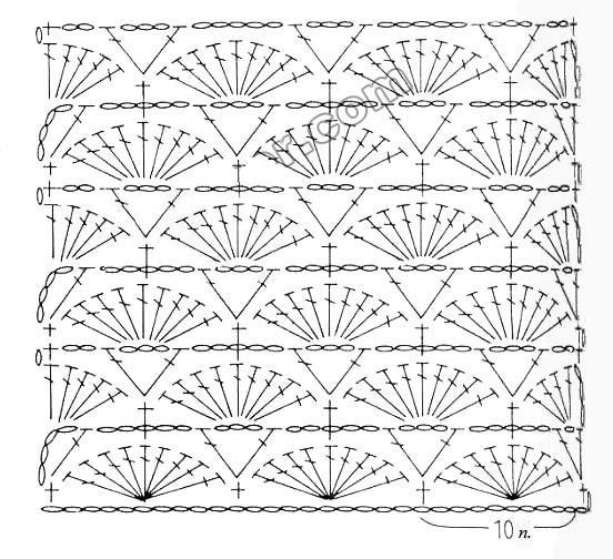 Схемы узора ракушка вязания крючком