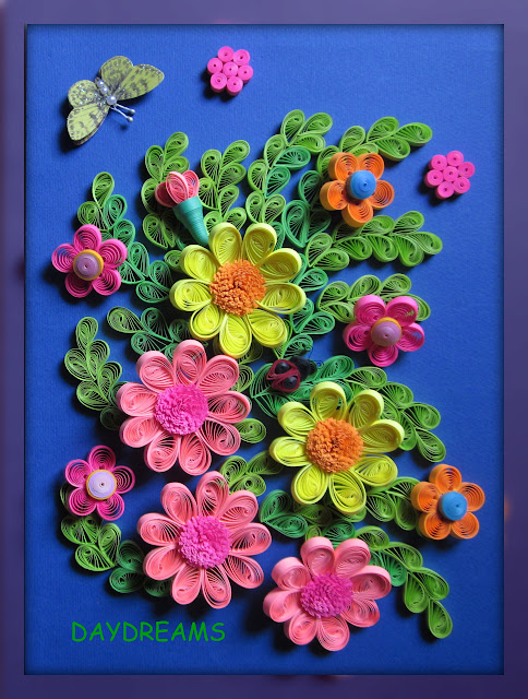Daydreams quilled flowers framed work for Big quilling designs
