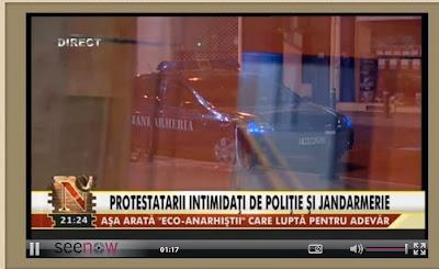 Clasa politică s-a speriat . Clasa politica pune jandarmii și politia sa intimideze populația . După incidentul de la Brașov de duminica din data de 27 octombrie 2013 când jandarmii au trecut la folosirea violentei , iată ca s-a început faza penala . Se identifica din filmări protestatarii , s-a activat SRI care ii găsește și fără adresa permanentă , se fac dosare penale și se dau amenzi uriașe .   Incidentele de la Brașov în care jandarmii folosesc violenta le puteți vedea aici :   http://vocearomanieiliberethenextgeneration.blogspot.ro/2013/10/27-10-2013-la-brasov-jandarmeria-se.html  Iată azi 30 octombrie în timp ce niște protestatari ( unii venind de la Brașov ) , în drum spre studioul de televiziune sunt legitimați în timp ce așteptau sa intre la emisiune . Toți acești tineri au deschise dosare penale datorita faptului ca sunt participanți la protestele anti RM . Iată ca după 33 de ani de democrație mimata , iată ca în momentul în care cetățenii se ridica contra lor ,ei folosesc tehnici comuniste de intimidare . Amenzi ce însumează pana și 250 de milioane de lei , dosare penale pentru participare la manifestații , violenta jandarmilor , instigare de folosire a forței din vârful guvernului , de la prim ministru la ministru de interne , spuse deschis și fără ocolișuri , iată :   http://vocearomanieiliberethenextgeneration.blogspot.ro/2013/10/guvernul-care-instiga-la-violenta.html  In timpul emisiunii jandarmeria pentru intimidare a parcat un autoturism și o duba la 10 metri de studioul in care era emisiunea cu Radu Moraru și tinerii protestatari .
