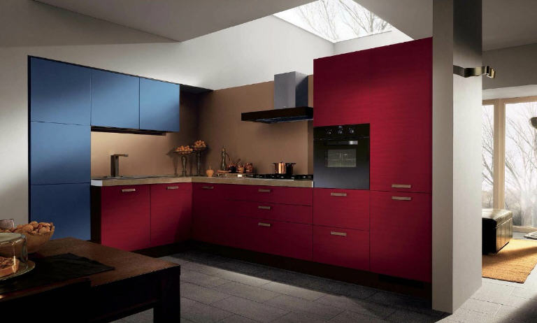 Simply Beautiful Kitchens The Blog Red and Blue Modular Kitchens