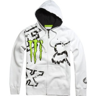 Fox Racing Monster Ricky Carmichael Replica Downfall Men's Hoody Zip Racewear Sweatshirt/Sweater w/ Free B&F Heart Sticker Bundle - White / Large
