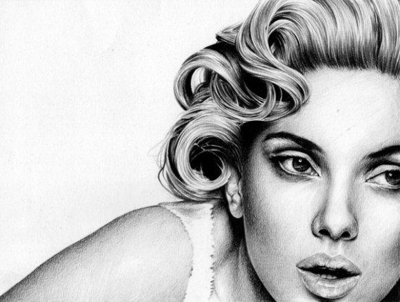 T.S. Abe desenhos a lápis hiper realistas retratos famosos Scarlett Johansson