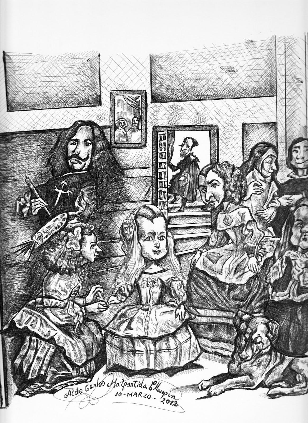 """Aldo Dibujo Pintura y Artes: Caricatura del Cuadro: """"Las Meninas ..."""