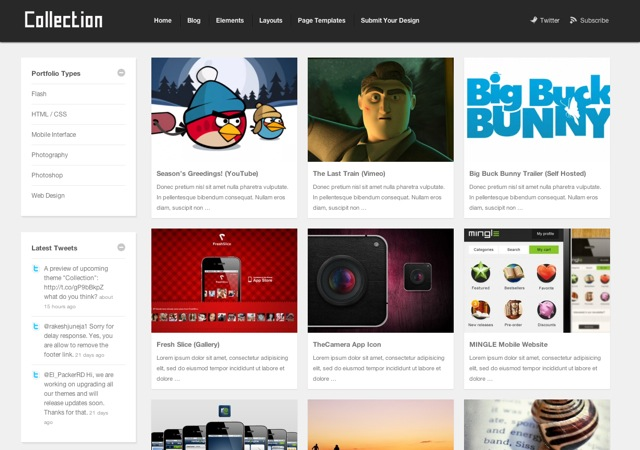 Collection Portfolio Wordpress Theme Free Download.