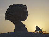 'Chicken and Egg Rock' -- White Desert at sunset, Western Desert Oasis Loop