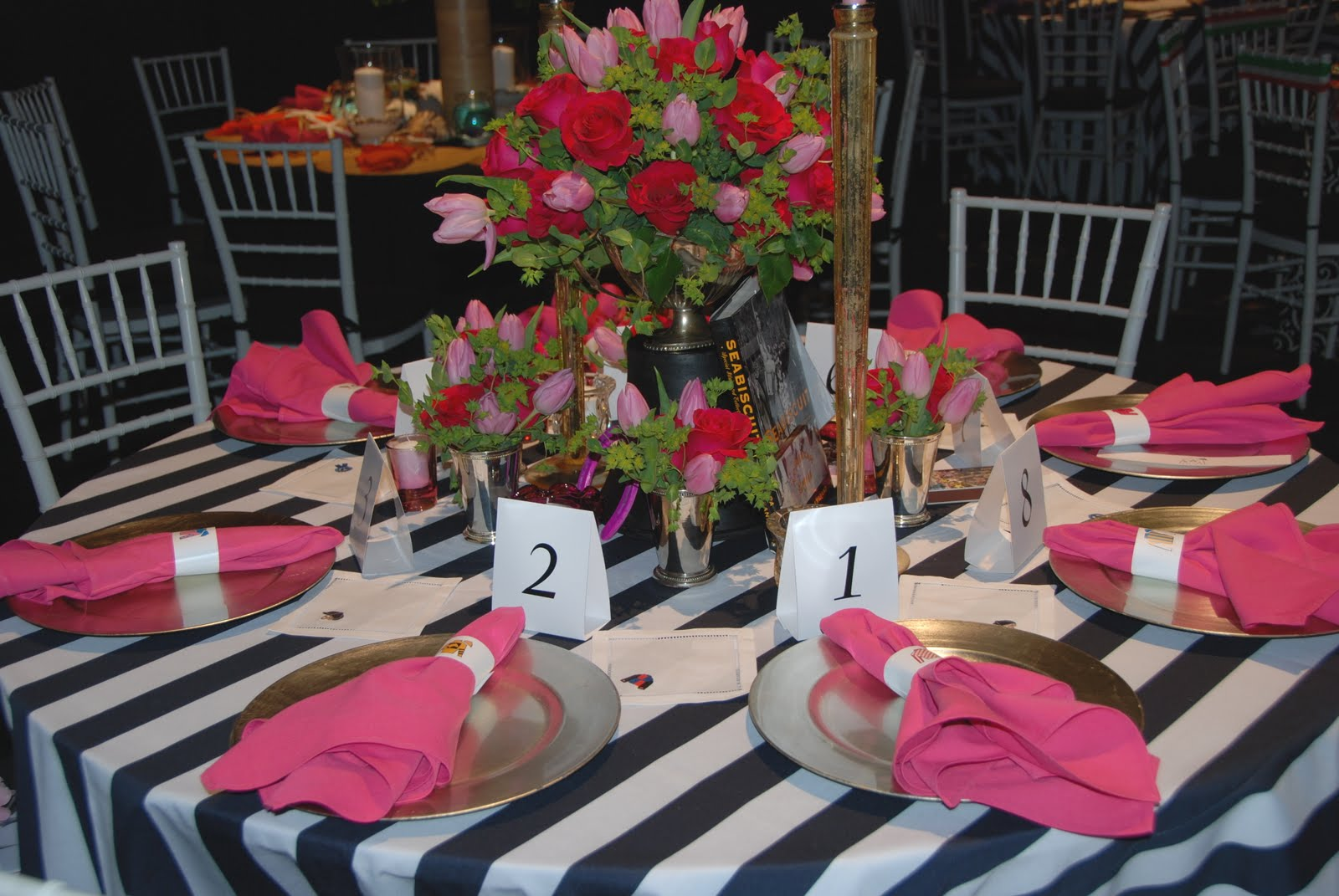 At The End Of The Evening, Guests Took Home A Book About The Kentucky Derby  All Tied Up With Ribbon And A Pink Rose.