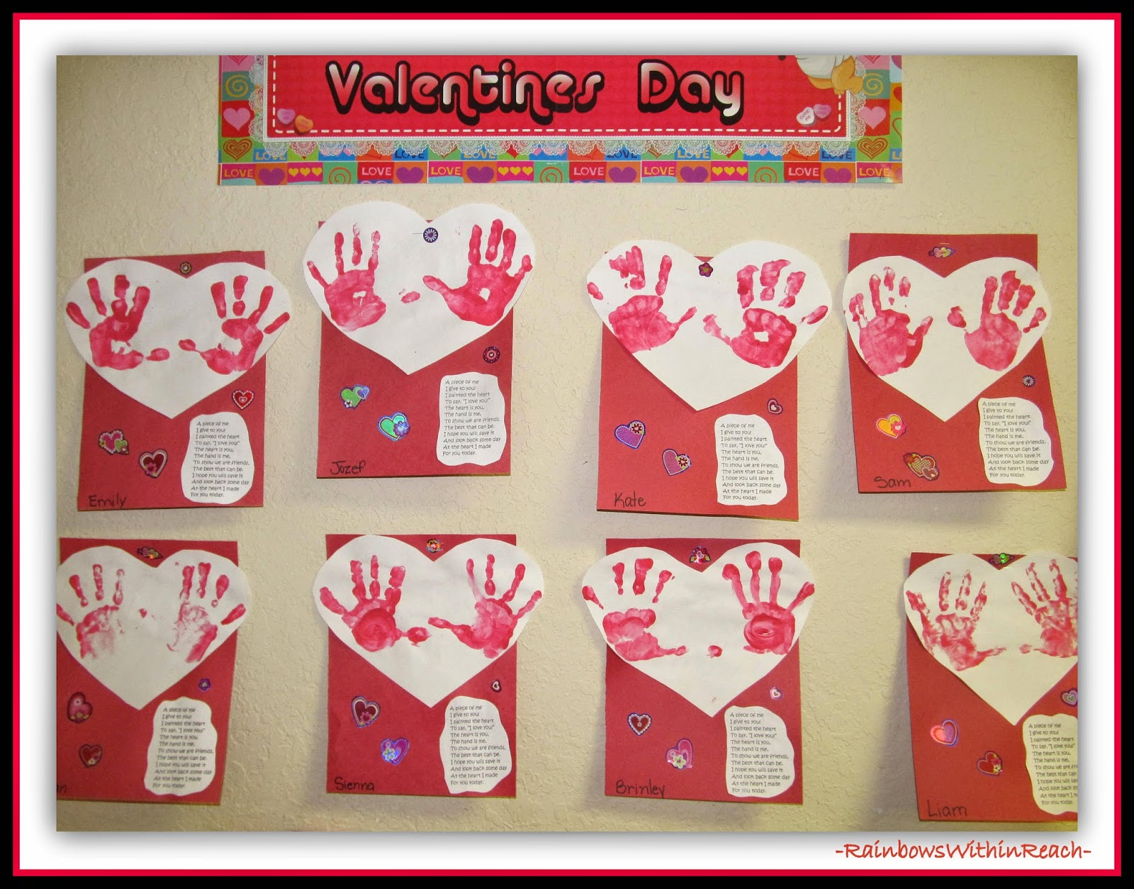 Valentine's Day Bulletin Board with Painted Hand Prints via RainbowsWithinReach