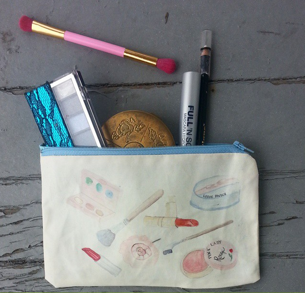 vintage inspired makeup bag zipper pouch in watercolor from wacky tuna on etsy
