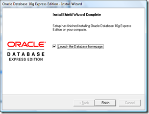 launch Home page Oracle XE