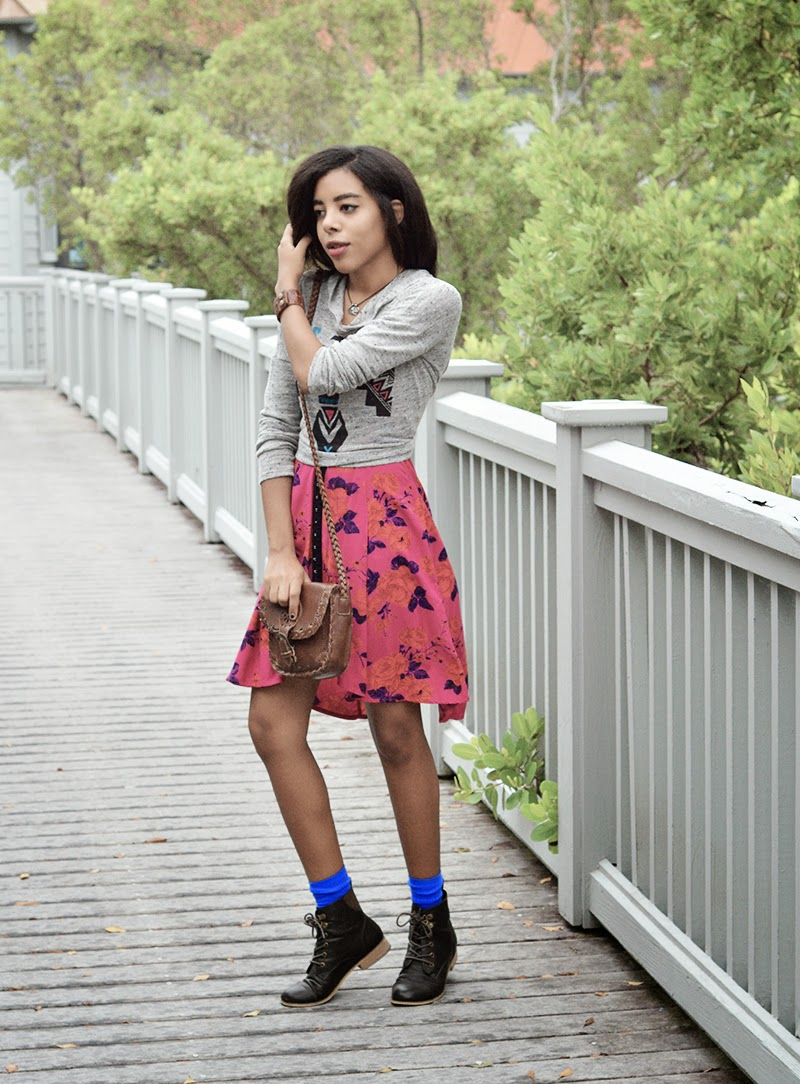 Miami Fashion Blogger Anais Alexandre at Homestead Bayfront Park or Biscayne National Park in a Kimchi blue dress with a Forever 21 sweater and BDG boots with leather accessories