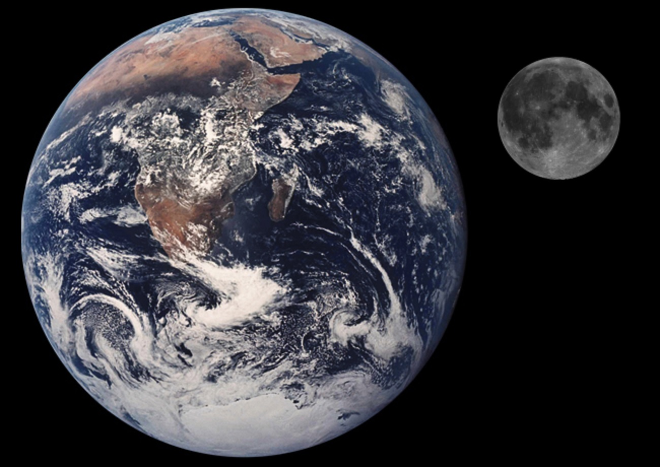moon compared to earth