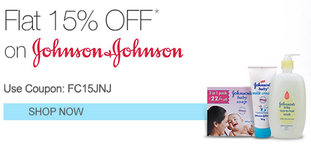 Flat 15% off on Johnson & Johnson Products