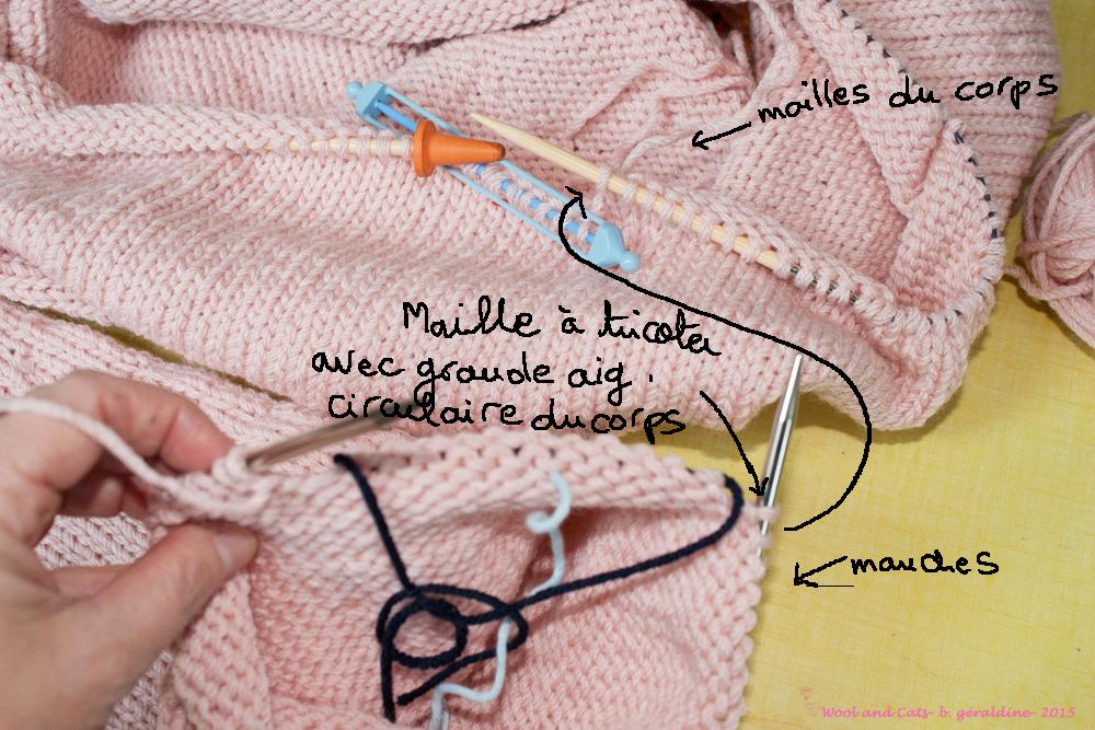 ... du modèle, il s agit de tricoter les mailles restantes de la manche avec  la grande aiguille circulaire c est à dire dans la continuité du corps. f6100ed97df