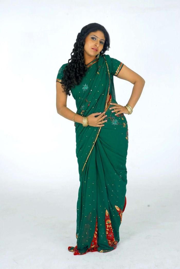 , Monica In Green Saree Photoshoot
