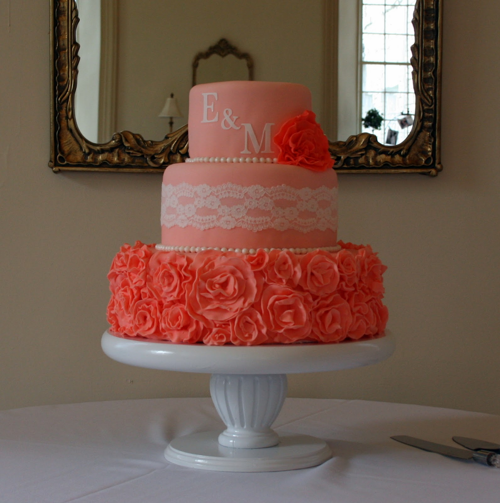 The Cake Cottage Coral Ruffles Wedding