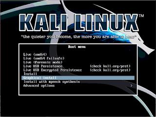 Boot menu kali linux terbaru
