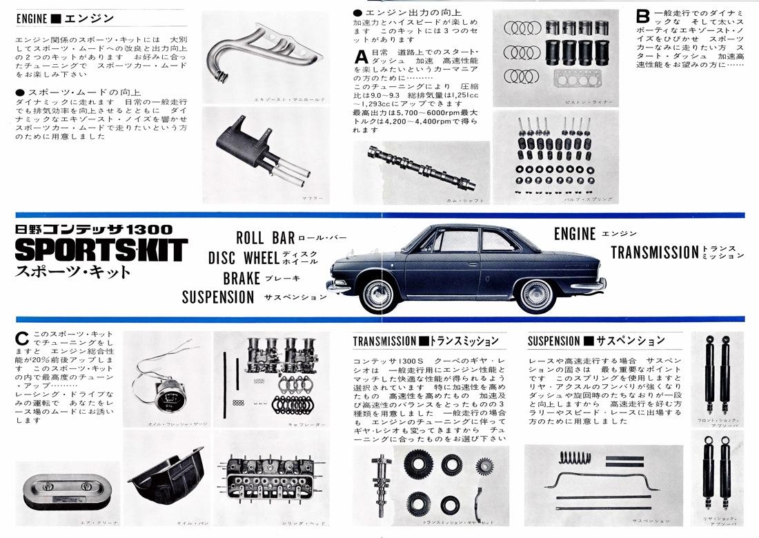 Hino Contessa 1300 PD, sports kit, tuning, tuned, modified, części do modyfikacji klasycznych samochodów, dawne samochody po tuningu, JDM, zdjęcia, 日野・コンテッサ