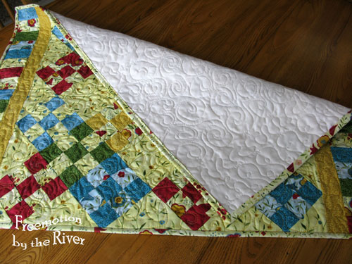 Free motion quilting on back of quilt