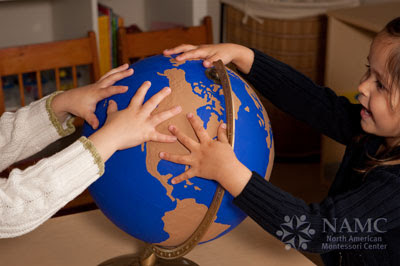 NAMC montessori whole to part lower elementary geography children and sandpaper globe
