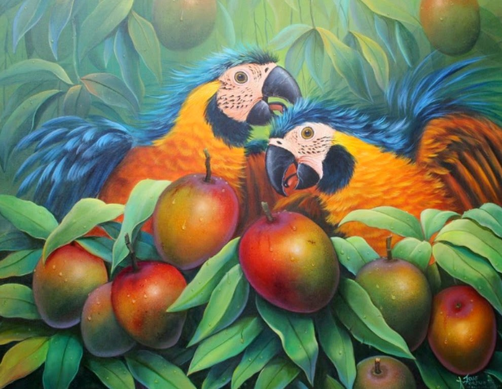 oleo-guacamayo-escarlata-imagen
