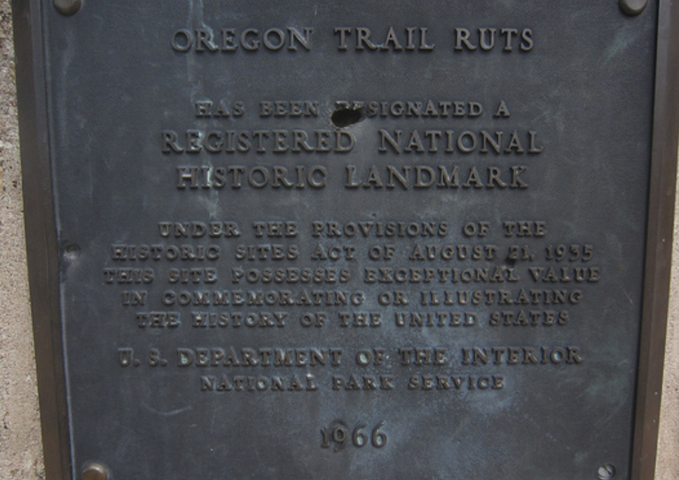 oregon trail ruts has been designated a registered national historic landmark under the provisions of the historic sites act of august 21 1935 this site